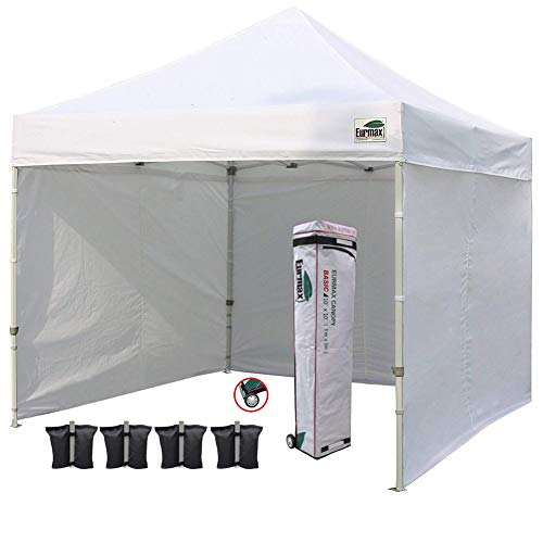 Eurmax 10'x10' Ez Pop-up Canopy Tent Commercial Instant Tent with 4 Removable Zipper End Side Walls...