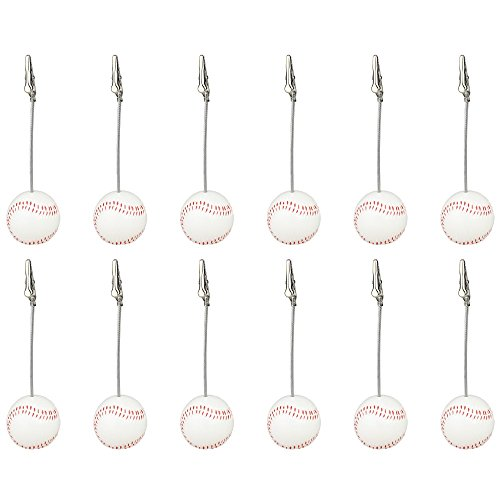 12 Pieces, Clickstore Resin Baseball Wire Picture, Desk, Card, Note, Photo, Memo Clip Holder Standing Wedding Place, Sport Party Deco