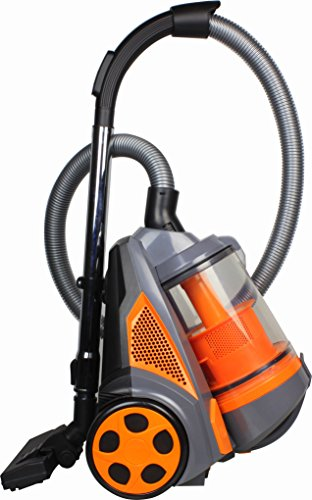 Ovente Bagless Canister Cyclonic Vacuum – HEPA Filter – Includes Pet/Sofa Brush, Bendable Multi-Angle Brush, Crevice Nozzle/Bristle Brush, Retractable Cord – Featherlite – ST2620 Series (Orange) For Sale