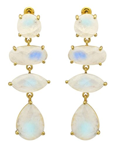 YoTreasure Rainbow Moonstone Gold Plated Over Brass Drop Statement Earrings Jewelry