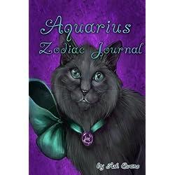 Aquarius zodiac cat blank journal