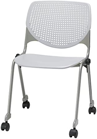 KFI Seating Kool Series Polypropylene Stack Chair with Perforated Back and Casters, Light Grey Finish