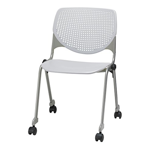 (KFI Seating Kool Series Polypropylene Stack Chair with Perforated Back and Casters, Light Grey Finish)
