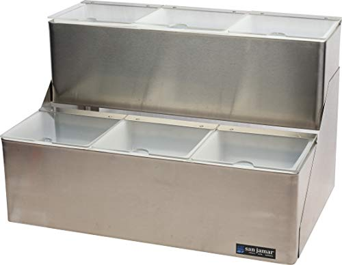 - San Jamar B6706INL EZ-Chill Stainless Steel Stepped Center with Individual Notched Lid, 18