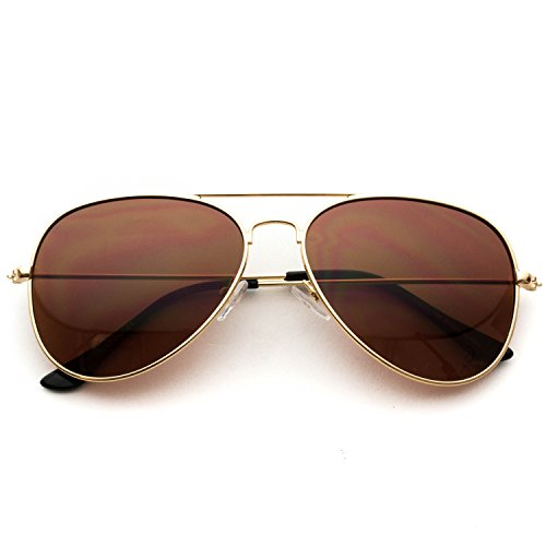 Classic Aviator Style Metal Frame Sunglasses Colored Lens (Gold Frame/Brown Lens, 59)