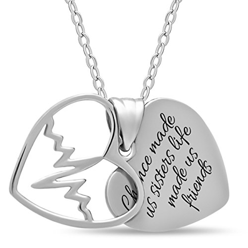 925 Sterling Silver Sister Two Heart Necklace for Best Sister Forever - Engraved Silver Double Heart Necklaces for Sister Silver Pendant for Sisters Heartbeat Charm (Charm Big Sister Gold)