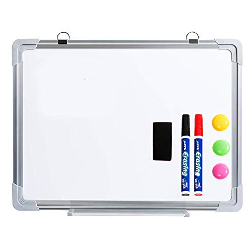 Hangable Dry Erase Board 12'' X 16'' Small-Sized Whiteboard with 2 Dry Eraser Markers, 3 Magnets and 1 Magnetic Dry Eraser Painted Steel Flexible Mounting Movable Hook Single-Sided Highly Durable