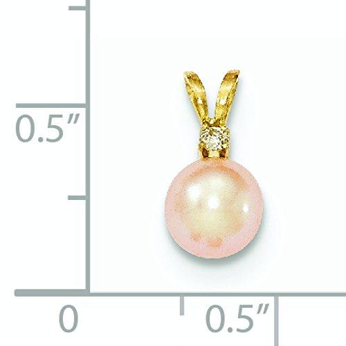Or 14ct Diamant Pendentif Rond FWC perles rose 6-7mm