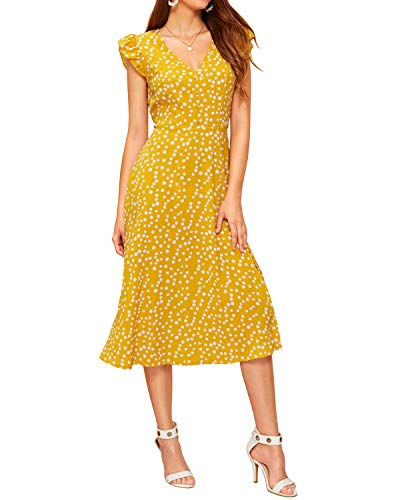 Auxo Women's Summer Dot Dress V Neck Button Ruffle Short Sleeve Ruffle Polka Long Maxi Dress Yellow 2XL
