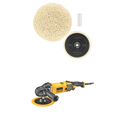 DEWALT DWP849X 7-Inch/9-Inch Variable Speed Polisher with Soft Start w/ DW4985CL Wool Buffing Pad and Backing...