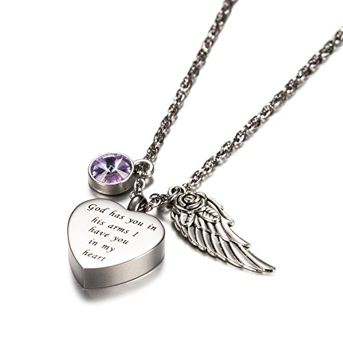 (AMIST God has You in his arms with Angel Wing Charm Cremation Jewelry Keepsake Memorial Urn Necklace with Birthstone Crystal (June))