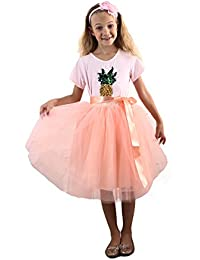 Girls Skirt Tutu Dancing Dress 5-Layer Fluffy with Ribbon