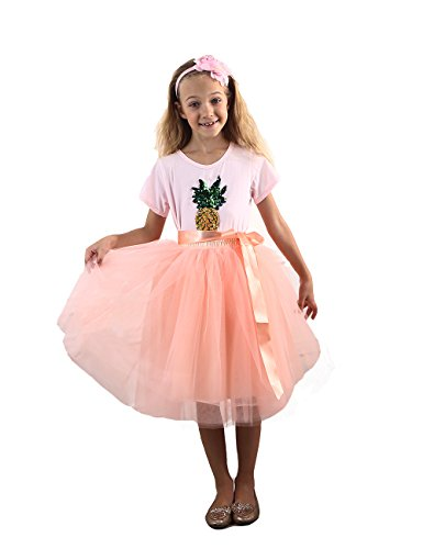 (Zcaynger Girls Skirt Tutu Dancing Dress 5-Layer Fluffy with Ribbon)