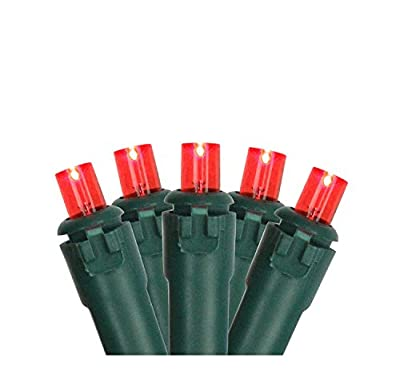 Set of 50 Red LED Wide Angle Christmas Lights on Green Wire