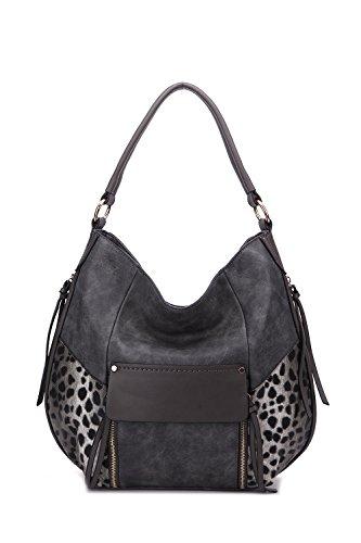 Hobo Handbags Shana Exclusive Crossbody Shoulder Bag MKF Collection Designer Handbags by Mia K. Farrow (Dark - Hobo Animal Print