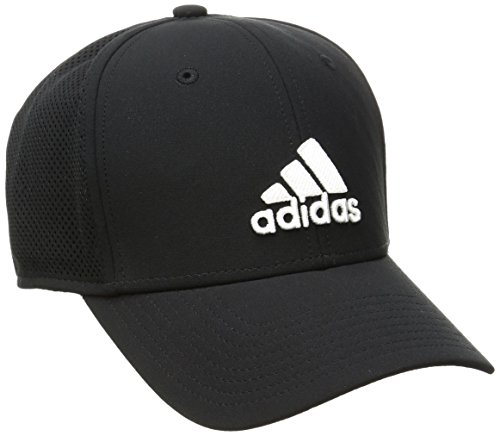 (adidas Men's Adizero Scrimmage Stretch Fit Cap, Black/White, Small/Medium)