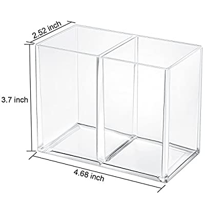 Gejoy Acrylic Pencil Pen Holder Large Makeup Organizer for Desktop Stationery Organizer Clear
