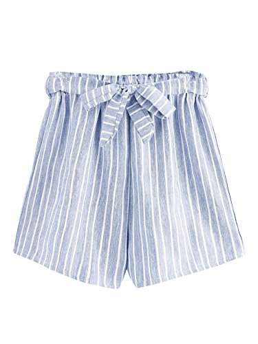 MAKEMECHIC Women's Casual Striped Elastic Waist Self Tie Shorts Blue M ()