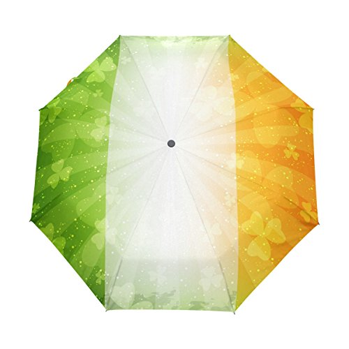 Top Carpenter Shamrock Ireland Flag Anti UV Windproof Travel Umbrella Parasol with Auto Open/Close Button (M16 Base)