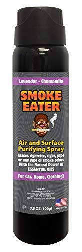 Smoke Eater – Breaks Down Smoke Odor at The Molecular Level – Eliminates Cigarette, Cigar or Pot Smoke On Clothes, in Cars, Homes, and Office – 3.5 oz Travel Spray Bottle (Lavender Chamomile AEROSOL)