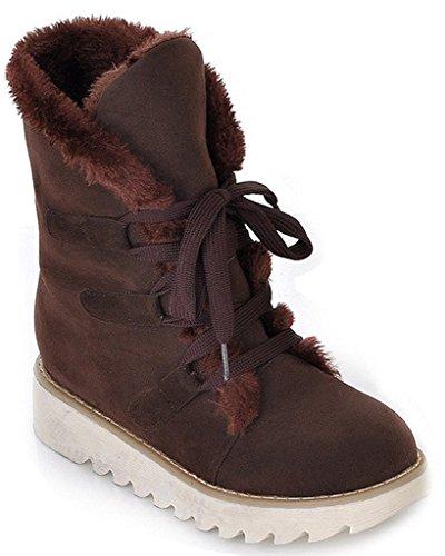 Minetom Mujer Otoño E Invierno Plano Botines Calentar Pelaje Botas De Nieve Atada Zapatos Marrón