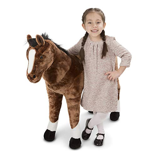 Melissa & Doug Giant Horse - Lifelike Stuffed Animal (Nearly 3 Feet Tall, Great Gift for Girls and Boys - Best for 3, 4, 5, and 6 Year Olds) (Toys Horse Stuffed)