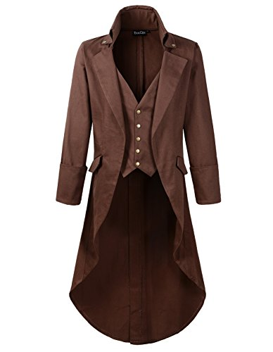 DarcChic Mens Gothic Tailcoat Jacket Black Steampunk VTG Victorian High Collar Coat (M, Brown) -