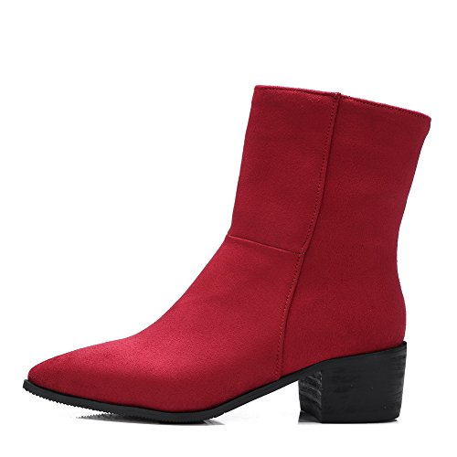 Heels Red Imitated Ladies AdeeSu Kitten Riding Boots Pull Boots Suede On Fashion AWax4