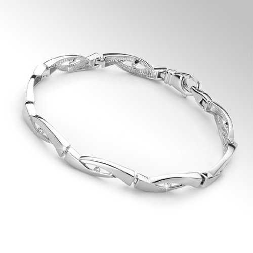 MATERIA-oxyde de zirconium-bracelet femme-argent 20.5 cm deutsche juwelieranfertigung 15,2 g-bracelet en argent 925 avec zircon 8 plaqué rhodium-avec écrin oui 2