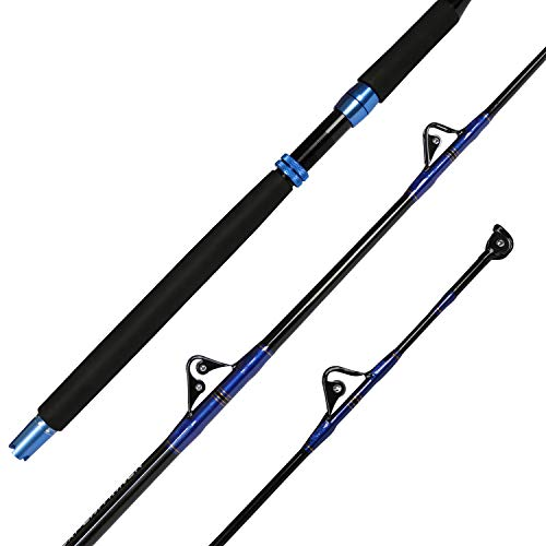 Fiblink 1-Piece Saltwater Offshore Trolling Rod Conventional Boat Rod Roller Fishing Pole(6-Feet, 30-50lb/50-80lb/80-120lb) (30-50-Pound)