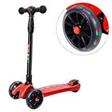 PHAT® Foldable Mini Kick Scooter for Kids S3 - T-bar Adjustable Height Handle 3 Wheel Kick Scooters With Led Flashing PU Wheels, Best Gift for Boys and Girls