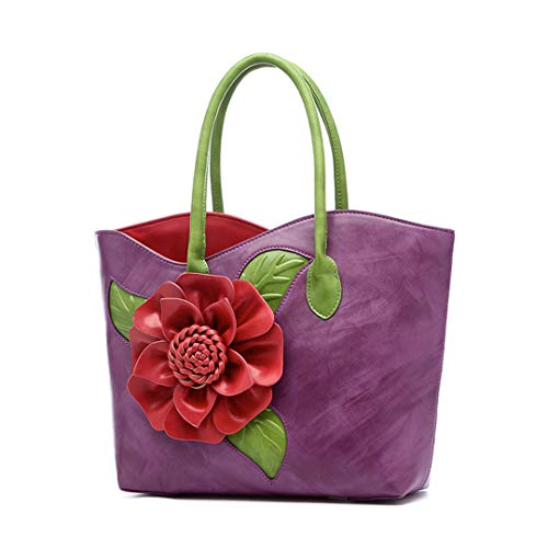 Purple Bag Handcuffed Handmade Women's Flower gZw4Oq6q