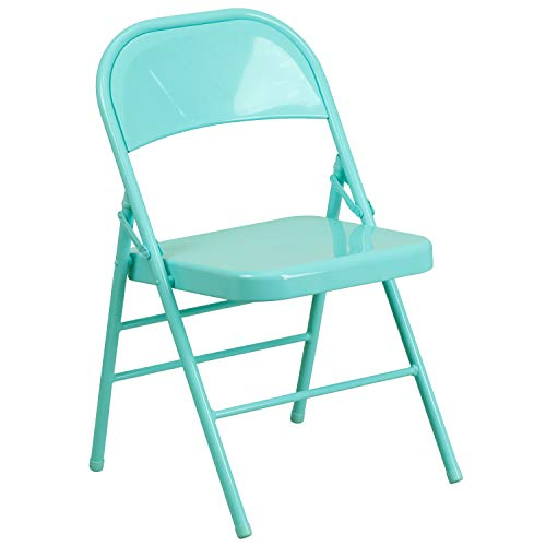 Flash Furniture HERCULES COLORBURST Series Tantalizing Teal Triple Braced & Double Hinged Metal Folding - Outdoor Mint Chair