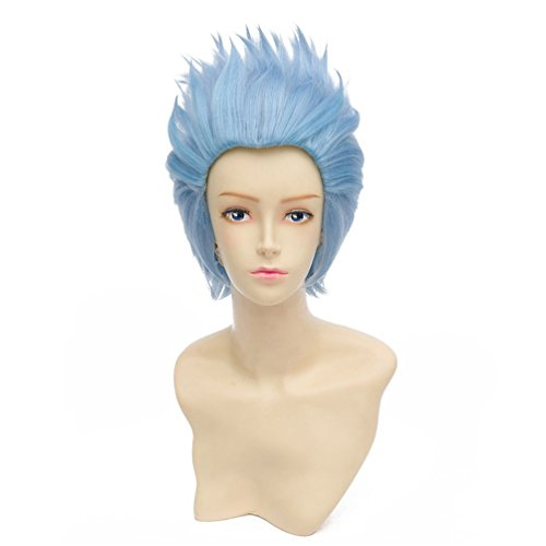 NiceLisa Cool Boy Light Blue Slick Back Short Halloween Party Birthday Gift for Kid Cosplay Wig]()