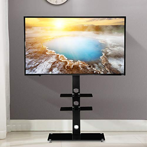 - Mecor Universal TV Stand with Bracket Mount TV Floor Stand for 32 37 42 47 50 55 60 65 70 inch Flat/Curved Screen Adjustable Black TV Stand with Three Tempered Glass Shelves