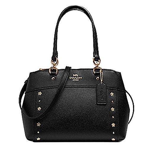 Coach Mini Brooke Leather Carryall Handbag Crossbody (IM/Black Studded)