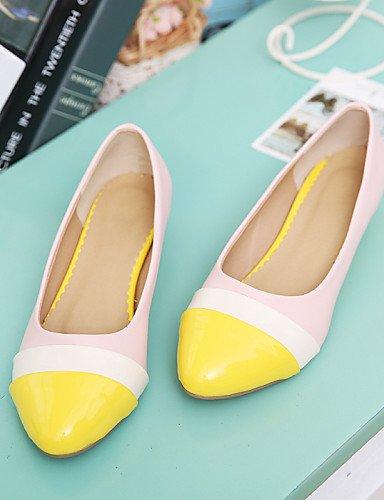 rojo PDX us7 amarillo las yellow 5 de Flats casual uk5 cn38 cerrado almendra mujeres punta 5 shoeswedge carrera y Toe Toe vestido eu38 talón oficina pHpxnZaqr