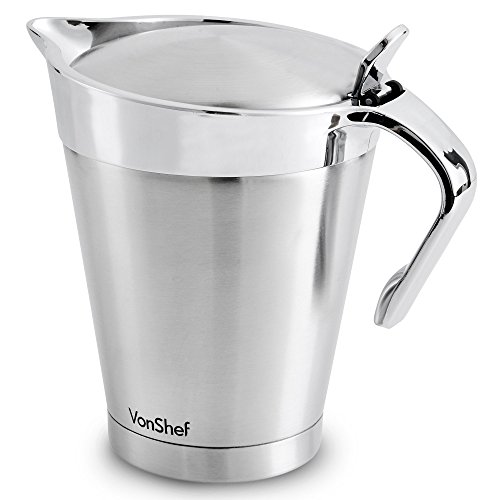 VonShef Stainless Steel 34oz Gravy Boat and Sauce Jug with Hinged Lid, Double Wall Insulated, Large 34 Fluid Ounces Capacity by VonShef (Image #4)