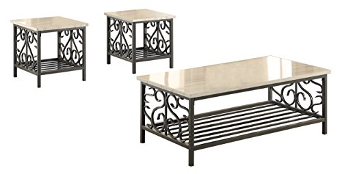 Homelegance Fairhope 3-Piece Occasional Table Set with Metal Frame and Faux Marble Top, Cream