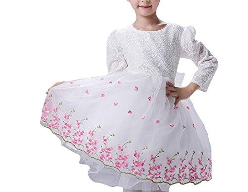 - MFrannie Girl Lace Pleated Flower Bubble Bottom Graceful Princess Dress White 11T
