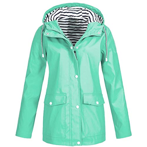 HGWXX7 Women Solid Rain Jacket Outdoor Plus Size Coats Waterproof Hooded Raincoat Windproof(2XL,Mint Green) ()