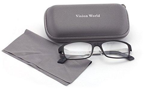 V.W.E. Men Lightweight Rectangular Memory Flex Reading Glasses With Case (Black, - Classy Glasses Reading