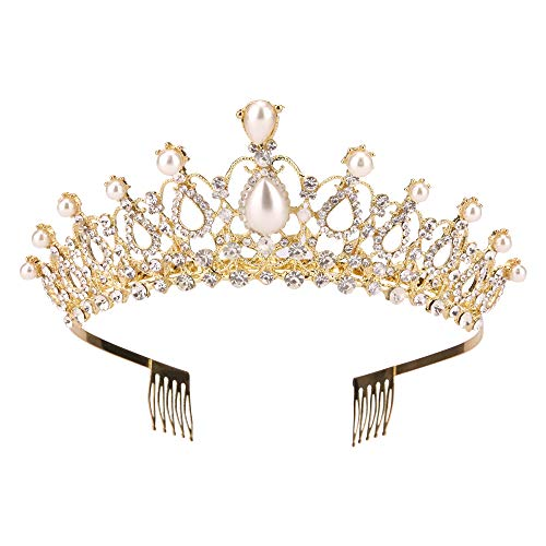Sppry Women Tiara with Comb - Pearl Crystal Crown for Bridal Queen Princess Girls at Wedding Birthday Pageant (Gold)