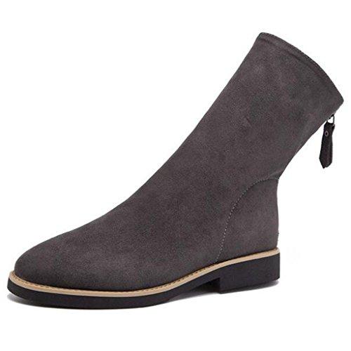 Binying Womens Elastische Zip Flat Martin Boots Grijs