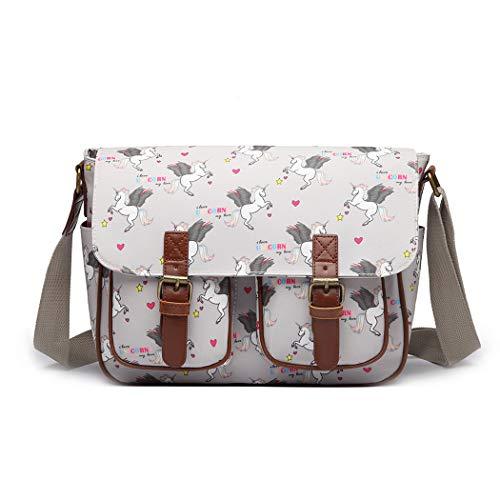 Miss Lulu Women Messenger Bag School Bags for Girls Cross Body Bag Matte Oilcloth Shoulder Satchel (Gray)