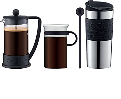 Bodum - Coffee Set - Coffee Press, Travel Mug, Glass Mug, Spoon - Black