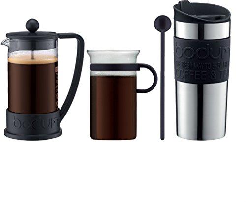 Press Bodum Travel (Bodum - Coffee Set - Coffee Press, Travel Mug, Glass Mug, Spoon - Black)