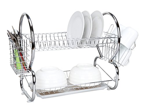 (Home Basics 2-Tier Dish Drainer, Air Drying and Organizing Dishes, Cutlery Holder, Chrome Plated Steel, Silver)