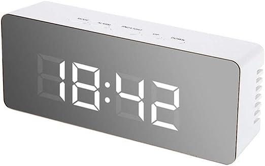 Lampe de table Miroir LED Réveil Numérique Snooze Horloge De