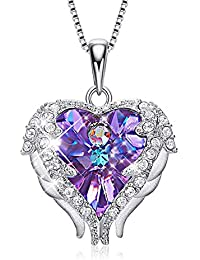 Angel Wing Sterling Silver Heart Pendant Necklace for Women Crystals from Swarosvki Jewelry Gifts
